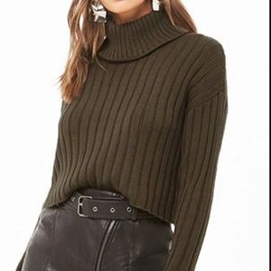 F21 Fall Dark Olive Cropped ribbed knit turtleneck